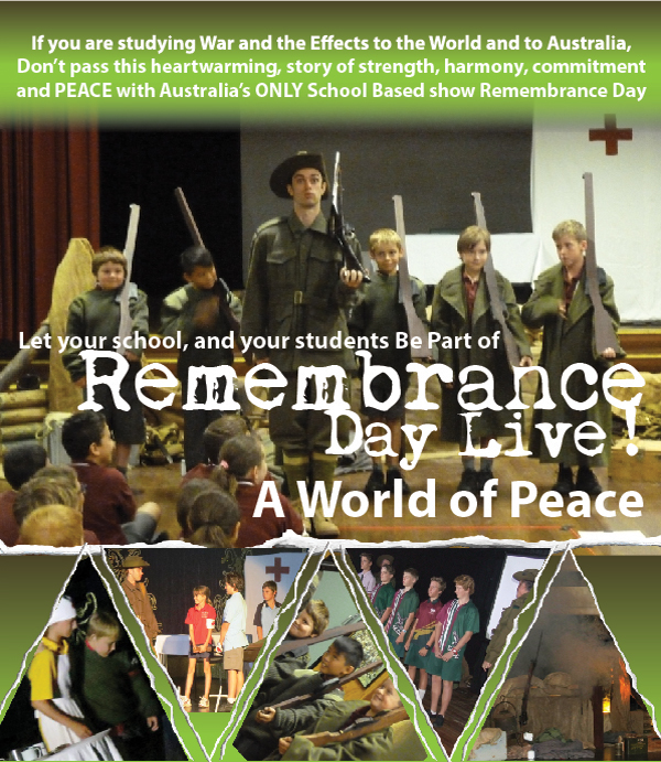 Remembrance Day Live - Interactive School Based Show. If you are studying the War and Effects tot he